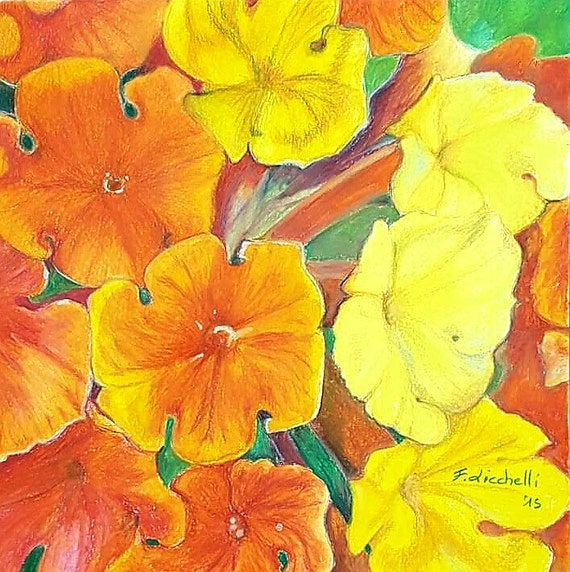 Orange and yelllow flowers, original drawing, OOAK, colored pencils on paper, moderno decore, Wall art, home decore, Bedroom, kitchen.