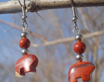 Earrings With Red Jasper Bears - Natural Heartline Bears