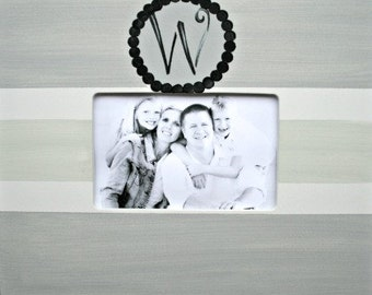 Personalized Wedding Couple/Family Monogram Picture Frame, Silver Grey & Sea Salt Horizontal Stripes, Hand-Painted, Custom Made, Home Decor
