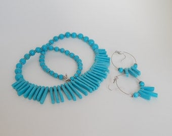 Turquoise Fringe Necklace and Earrings