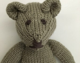 Organic Bear - Stuffed Animal - Waldorf Bear - Knitted Stuffed Toy