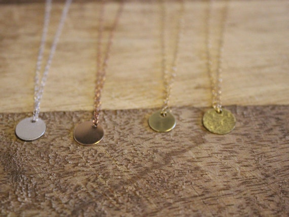 Delicate Disc Necklace, 14K Rose Gold Filled, 14K Gold Filled, Stirling Silver, Copper
