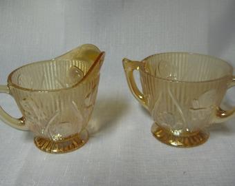 Iris herringbone Iridescent creamer and open sugar by Jeannette Glass Company