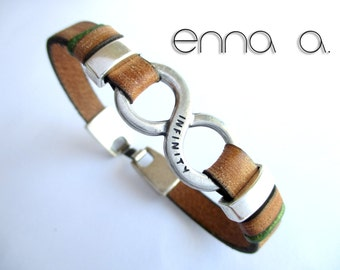Brown leather bracelet, infinity