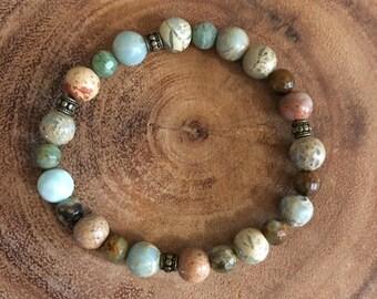Amazonite and Green Jasper Bracelet w/ Bronze Accents