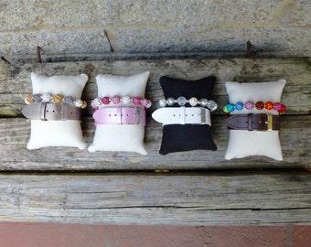 Faux Leather Buckle & Shamballa Bracelet Sets