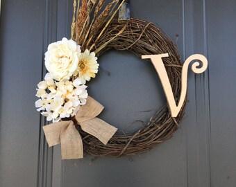 Floral Fall Wrerath, Rustic Wreath, Monogram Wreath, Frontdoor Decor, Door Decor