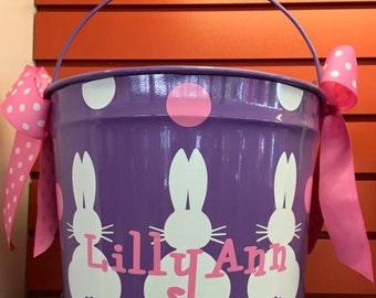 Personalized Easter Basket Metal Bucket- personalized Easter Bucket- 10 Quart Bucket- Easter Pail- Personalized Children's Gift Purple Buck