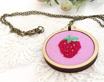 Strawberry Mini Hoop Pendant, Hand Embroidered Necklace / READY TO SHIP ~ Embroidered Jewelry, Statement Necklace – Gift for her