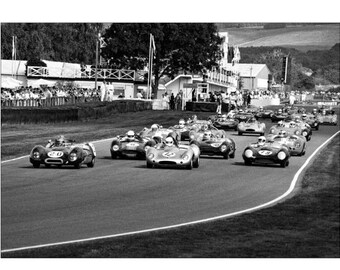 racing cars - A4 fine art print - 14 x 11 inch Mount - cars - vintage cars - goodwood revival - mounted car print - car photograph