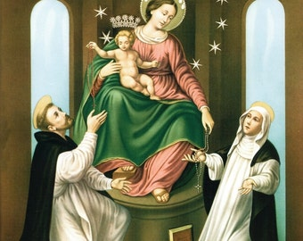 Catholic Art Print Picture of the Blessed Virgin Mary as Our Lady of Pompeii with Saints Dominic & Catherine - From Italy
