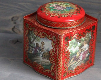 Vintage metal box - Red box - Metal box with lid - Tea box - Containing metal - Flowers design - Vintage creamer - Orange Rétro