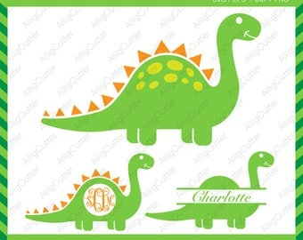 Dinosaur Monogram Split frame SVG DXF PNG eps animal Cut Files for Cricut Design, Silhouette studio, Sure Cuts A Lot, Makes the Cut and more