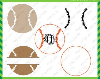 Baseball ball Monogram Split Frame SVG DXF PNG eps sport Cut Files for Cricut Design, Silhouette studio, Sure Cuts A Lot, Makes the cut