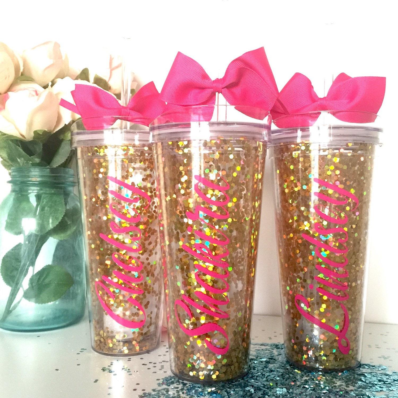 Personalized Gold Glitter Tumbler Glitter Monogram Cup