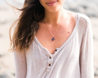 Rose Gold Sea Glass Necklace