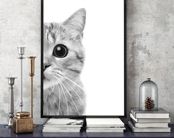 SALE - 50% cat art print, black cat print, cat poster, cat watercolor, nursery decor, cat artwork. Large poster 8x10 - 24x36