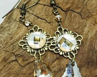 Gold Shadow Swarovski Crystal Dangle Earrings