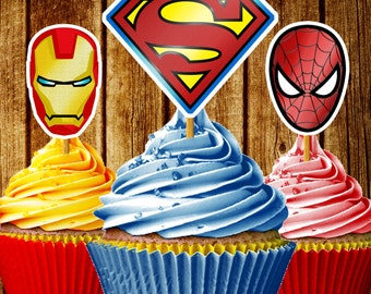 Super Heroes Cupcake Toppers / Printable Superhero cupcake toppers / Downloadable Cupcake Toppers / Printable Party Favors