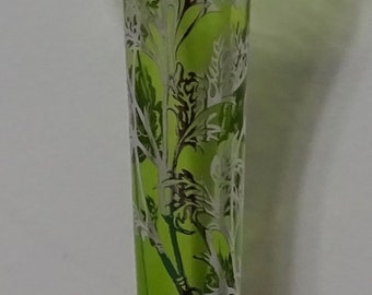 Lime Green bud vase with silver city overlay
