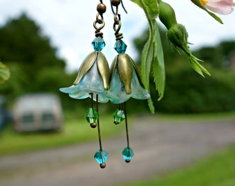Blue Earrings - Green Earrings - Flower Earrings - Floral Earrings - Bronze Earrings - Wildflower Earrings - Dangle Drop Earrings - Light.