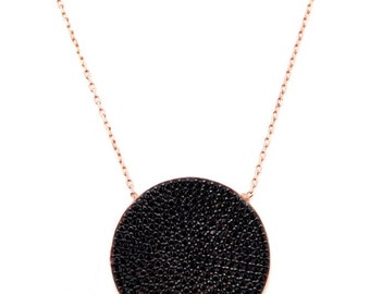 Large Disc Necklace. 925 sterling silver w 14k rose gold plated/black stone.