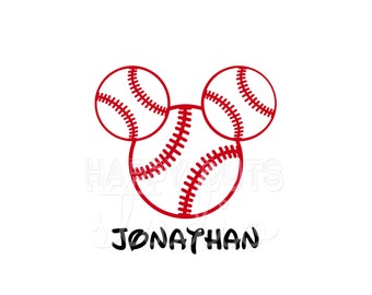 Personalized Baseballs Mickey Decal / Boy Softball Sports Hat Dad Grandpa Vacation Matching Family Trip Mouse Disney Iron On Vinyl Shirt 067