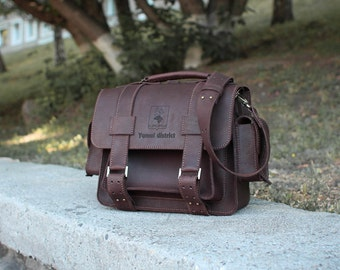Brown Leather Briefcase, Leather Briefcase Messenger Bag, Leather Messenger Bag