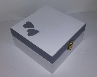 Wooden box, white and grey with wooden hearts applied. Handpainted. White box. Wedding cards box, romantic wedding. Elegant wedding decor. OOAK