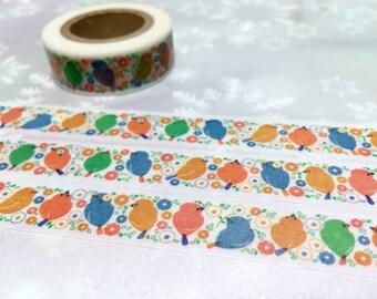 colorful bird washi tape 10M cute bird lovely bird fat bird Garden bird deco sticker tape garden bird planner sticker bird decor gift