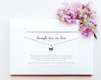 Daughter In Law | From Mother In Law to Future Daughter-In-Law | Sterling Silver Heart Necklace Poem Message Card Engagement Wedding Gift