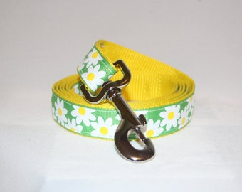 6 Foot Spring White Green Yellow Daisy Dog Leash