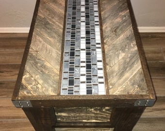 End Tables with Glass/Stone Tile Inlay