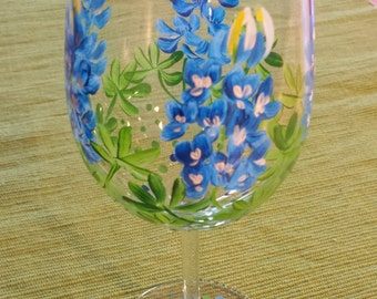 Texas Bluebonnet Wine Glass.  Hand Painted Bluebonnet Wine Glass.  Texas Wildflower Wine Glass.