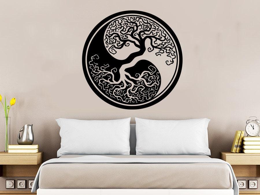 Wall Decal Tree Roots Nature Symbol Yoga Yin Yang Vinyl - Zen wall decalsvinyl wall decal yin yang yoga zen meditation bedroom decor
