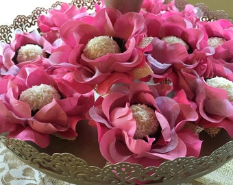 "60 Luxury Silk / Satin / Burlap Rose Flowers - ""CANDY CUPS"" for Chocolate Truffles  Wedding Dessert Table or Chocolate Bar Display"