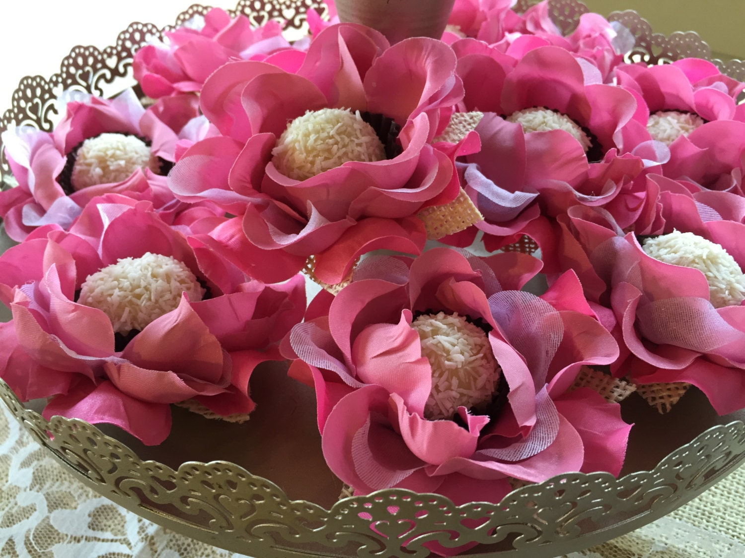 60 Luxury Silk / Satin / Burlap Rose Flowers - CANDY CUPS for ...