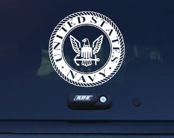 U.S Navy Insignia Decal/Military Decal/US Navy Decal/Navy Car Decal/Military Support/Car Decal/US Navy Stickers