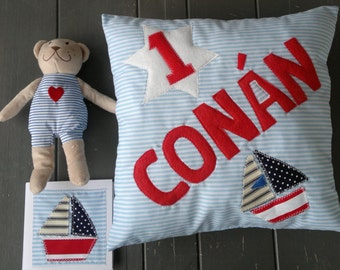 New Baby Boys Personalised Cushion Pillow Teddy Bear Card Christening 1st Birthday Present  Bedroom Decor Blue Boat Nautical Baby Shower