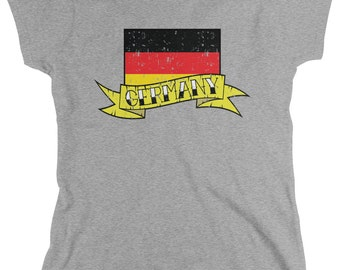 Distressed Germany Banner Country Flag Ladie's T-Shirt, Deutschland Pride, Germans, Nationality, Women's Germany Shirts AMD_GER_07