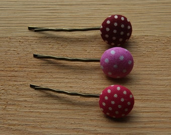 Hair grips - polka dot, fabric hair slides, red, pink hair grip, stocking stuffer, kirby grip, birthday hair pin, Christmas gifts for her