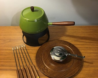 Retro olive green fondue set by Dolphin made in Japan. Never used!