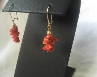 Red Coral Earrings, Red Coral Dangle Earrings, Coral Drop Earrings