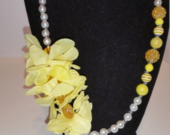 One of a Kind Yellow Flower and white pearl Necklace