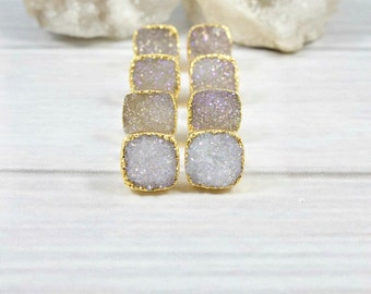 Druzy Earrings, Druzy Stud Earrings, Druzy Post Earrings, Druzy Gold Earrings, Raw Stone Stud Earrings, Stud Earrings, Gold Earrings, Bridal