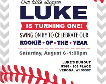Rookie of the Year Baseball Birthday Invitation, 5x7