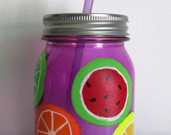 Hand-Painted Mason Jar Sippy Cup, Fruit Themed with straw built-in