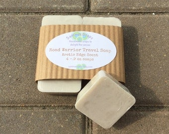 Road Warrior Travel Size Soap, Natural Travel Soap for Men, Masculine Travel Soap, 4 pack Travel Soaps