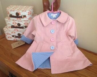 Girls Coat, Baby Coat, Toddler Coat, pink coat, 3m to 6 years, handmade