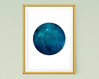 Libra Zodiac Printable Art, Constellation print, Zodiac Art, constellation art Instant Download